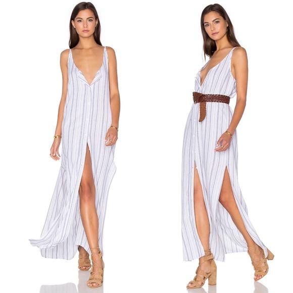 BELLA DAHL Button Front Maxi Dress Striped XS